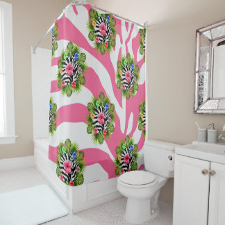 Tropical hibiscus and exotic pink zebra stripes shower curtain