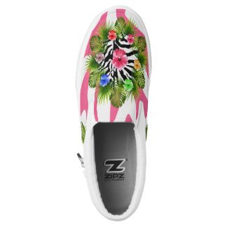 Tropical hibiscus and exotic pink zebra stripes Slip-On shoes