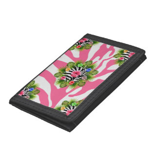 Tropical hibiscus and exotic pink zebra stripes trifold wallets
