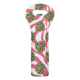 Tropical hibiscus and exotic pink zebra stripes wine bag