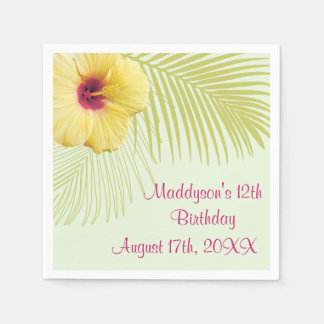 Tropical Hibiscus and Palm Party Napkins Paper Serviettes