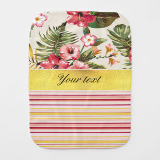 Tropical Hibiscus and Stripes Burp Cloth
