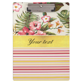 Tropical Hibiscus and Stripes Clipboard