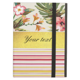 Tropical Hibiscus and Stripes iPad Air Cover