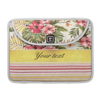 Tropical Hibiscus and Stripes MacBook Pro Sleeves