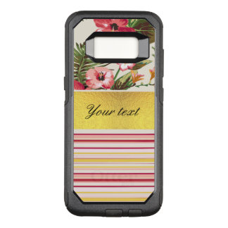 Tropical Hibiscus and Stripes OtterBox Commuter Samsung Galaxy S8 Case