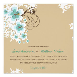 Tropical Hibiscus Blue Beach Luau Wedding Invite Custom Announcements