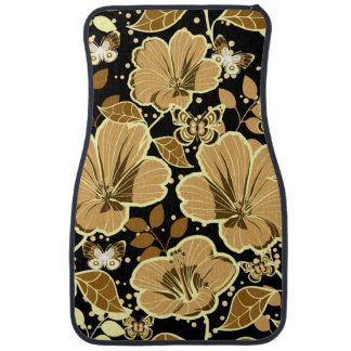 Tropical Hibiscus & Butterflies Shades of Brown Car Mat