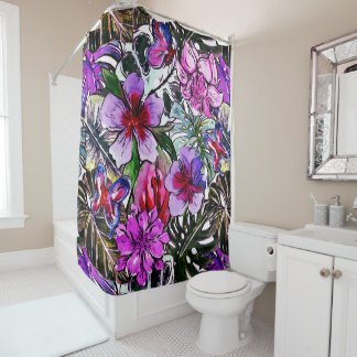 Tropical HIbiscus Exotic Jungle Flowers Shower Curtain
