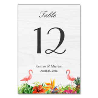 Tropical Hibiscus Floral Flamingo Table Number