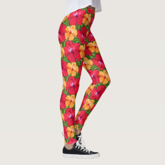 Tropical Hibiscus Floral Pattern in Red and Orange Leggings