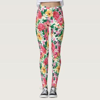 Tropical Hibiscus Floral Pattern Leggings