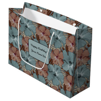 Tropical Hibiscus Floral Pattern Neutral Gray Rust Large Gift Bag