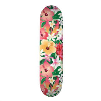 Tropical Hibiscus Floral Pattern Skate Board