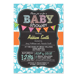 Tropical Hibiscus Flower Chalkboard Baby Shower 13 Cm X 18 Cm Invitation Card