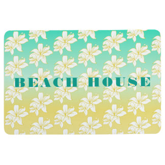 Tropical Hibiscus Flower Pattern and Text Floor Mat