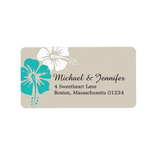 Tropical Hibiscus Flowers Address Label
