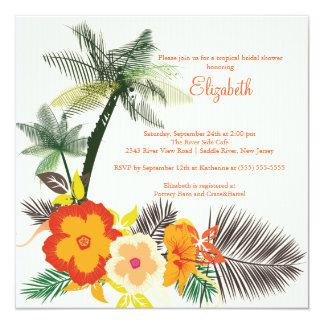 Tropical Hibiscus Flowers Bridal Shower 13 Cm X 13 Cm Square Invitation Card