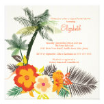 Tropical Hibiscus Flowers Bridal Shower Custom Invitations