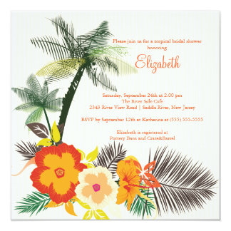 """Tropical Hibiscus Flowers Bridal Shower 5.25"""" Square Invitation Card"""