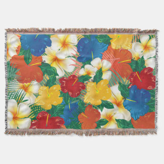 Tropical Hibiscus Flowers Design Throw Blanket