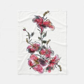 Tropical hibiscus flowers fleece blanket