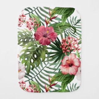 Tropical hibiscus flowers foliage pattern burp cloth