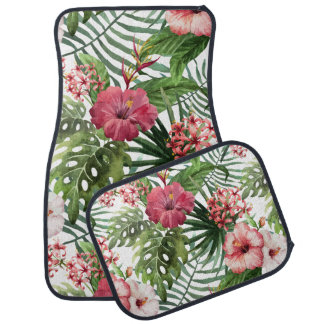 Tropical hibiscus flowers foliage pattern car mat