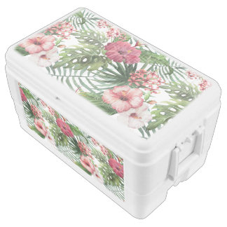 Tropical hibiscus flowers foliage pattern cooler