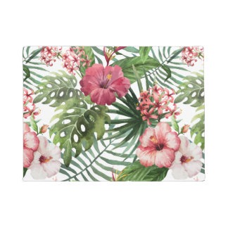 Tropical hibiscus flowers foliage pattern doormat