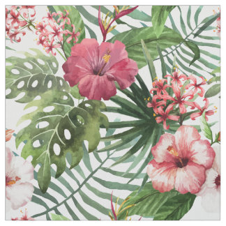 Tropical hibiscus flowers foliage pattern fabric