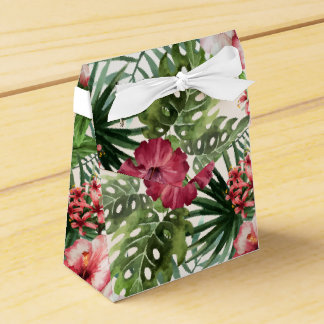 Tropical hibiscus flowers foliage pattern favour box