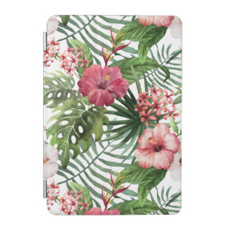 Tropical hibiscus flowers foliage pattern iPad mini cover