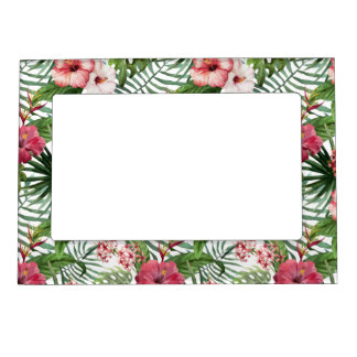 Tropical hibiscus flowers foliage pattern magnetic frame