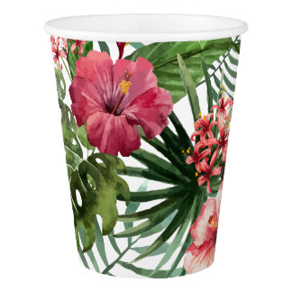 Tropical hibiscus flowers foliage pattern paper cup