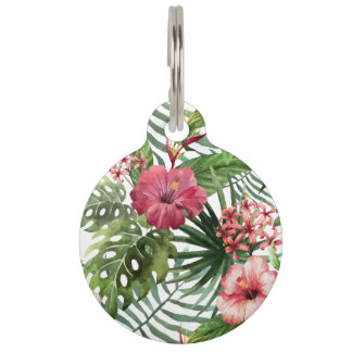 Tropical hibiscus flowers foliage pattern pet tag