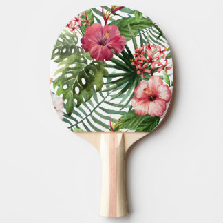 Tropical hibiscus flowers foliage pattern ping pong paddle