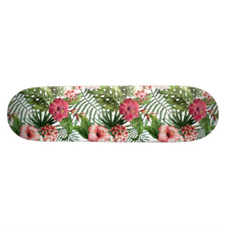 Tropical hibiscus flowers foliage pattern skate board deck