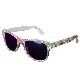 Tropical hibiscus flowers foliage pattern sunglasses