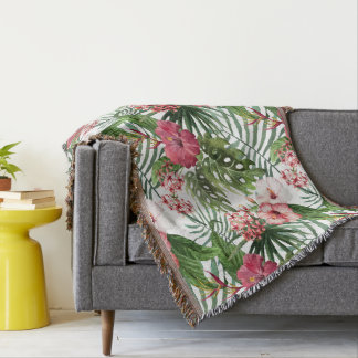 Tropical hibiscus flowers foliage pattern throw blanket