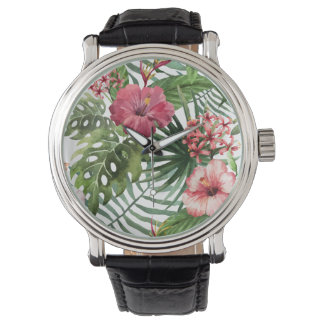Tropical hibiscus flowers foliage pattern watch