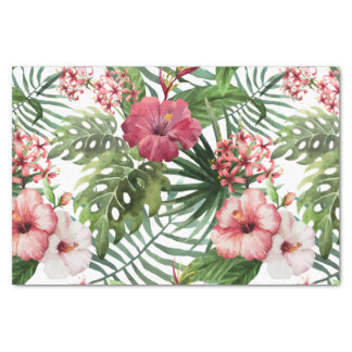 Tropical hibiscus flowers leaves foliage pattern tissue paper