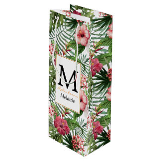 Tropical hibiscus flowers leaves foliage pattern wine gift bag