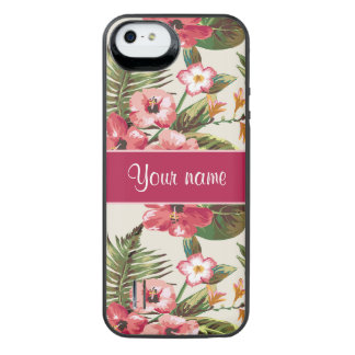 Tropical Hibiscus Flowers Pattern iPhone SE/5/5s Battery Case