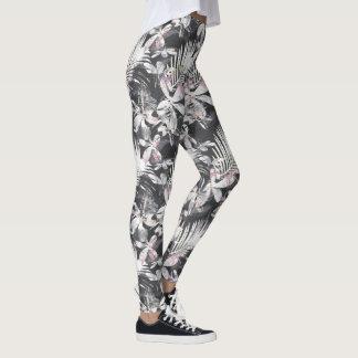 Tropical hibiscus flowers sketch leggings