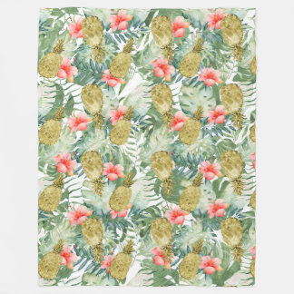 Tropical Hibiscus Gold Pineapples Floral Fleece Blanket
