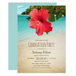 Tropical Hibiscus Hawaiian Beach Graduation Party Card