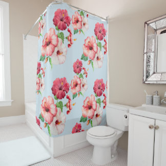 Tropical Hibiscus Hawaiian Floral Customizable Shower Curtain