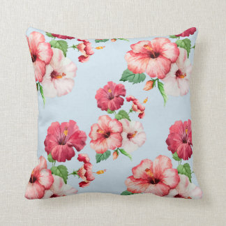 Tropical Hibiscus Hawaiian Floral Customizable Throw Pillow