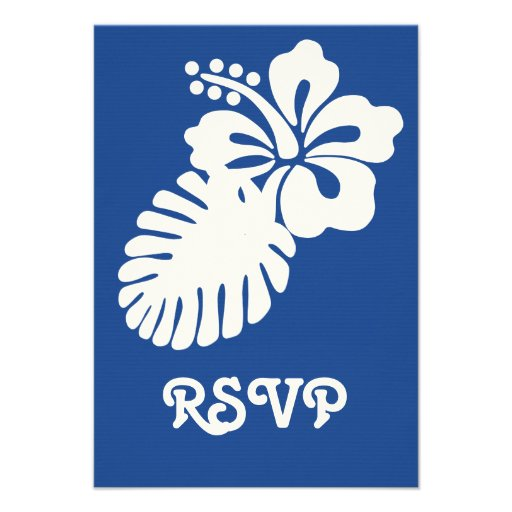 Tropical Hibiscus in Blue RSVP Card